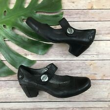 Fluchos Mary Jane Shoes Size 38 7 Black Leather Low Heel Round Toe Silver Button