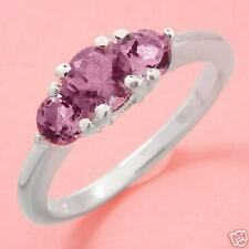 0.80ctw-3 Stone Purple Amethyst Ring-Sz7- SSilver