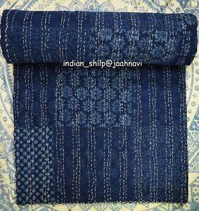 New Indigo Patchwork Indian Handmade Cotton Bed Cover Blanket Throw Kantha Quilt