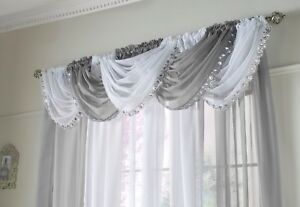 """Jewelled Voile Swags, 5 colours, lovely , 22"""" x 18"""" hanging size, Beautiful"""