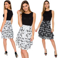 Womens Knee Length Floral Elegant Skirt High Waist Belt Frill Style S-XL FS03