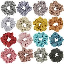 Linen Check Plaid Vintage Hair Scrunchie Ties Women Hair Accessorie Elastic Band