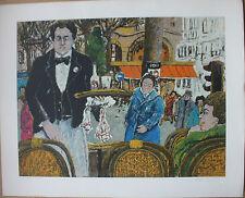 AZUZ David Lithographie signée numérotée café Margolin Paris art judaïca 1980 +