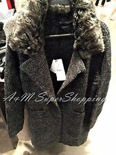 ZARA GREY FAUX FUR KNIT COAT WITH LARGE LAPELS SIZE MEDIUM M 10 UK 38 EU 6 US