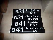 NYC BUS SIGN 1972 BROOKLYN BRIGHTON SUBWAY GERRITSEN BEACH NOSTRAND NY ROLL SIGN