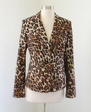 Cache Brown Black Cheetah Print Blazer Jacket Size 4 Chic Career Leopard