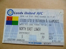 Ticket- LEEDS UNITED v RUSHDEN & DIAMONDS, FA Cup 3rd Round REPLAY, 13 Jan 1999