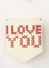 Cotton Clara - Wooden Banner Embroidery Kit - I Love You - Red Threads