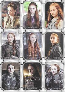 Game of Thrones Iron Anniversary 9 Card SANSA STARK Base Set Puzzle 145-153