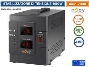 STABILIZZATORE DI TENSIONE 2000VA 1600 WATT AVR DISPLAY LCD