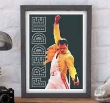 More details for freddie mercury art print, queen poster queen prints