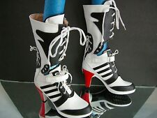 Boot Faux leather Black White 6 red Corset Lace Suicide Squad Sporty Cosplay 240