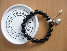 Thomas Sabo Charm Black Bead Bracelet in Original Box    - (ref T10)