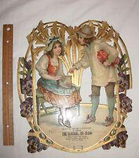 Large Antique Die Cut Scrap Victorian Calendar Holder German no date nor calenda