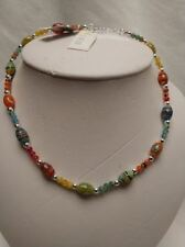 "925 Sterling Silver Necklace Chain FLOWER GLASS Bead 16 "" $65 hippie"