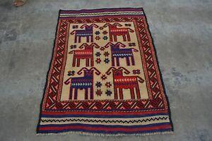 F1959 Vintage Handwoven Best Pictorial Tribal Wool Decor Kelim Rug 3 x 4'5 Feet