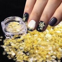 DIY Nail Art Christmas Snowflake Flake Sequins Metal Gold Charm Decor Manicure