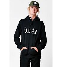 New OBEY x PacSun Black White Dropout Pullover Logo Drawstring Hoodie Sz Medium