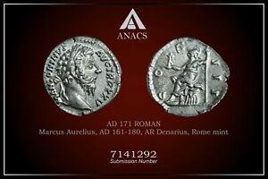 MARCUS AURELIUS ANACS AU55 ANCIENT ROMAN COINS, AD 161-180. AR Denarius. A847