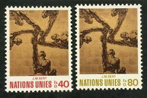 Timbre UNITE DES NATIONS GENEVE Yvert & Tellier n°28 et 29 n** Mnh (Cyn38)