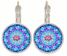 New Original retro Glass cabochon Silver Earrings Jewelry gift
