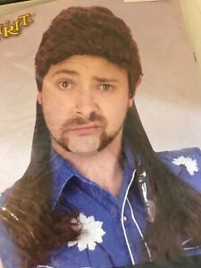 Spirit Halloween Adult Brown Mullet Redneck Rock Star Cosplay Costume Wig BRC