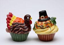 61814 Fall Pumpkin Turkey Frosted Cupcake Thanksgiving Salt Pepper Shaker Set