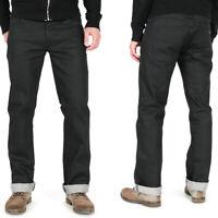 Nudie Herren Regular Straight Fit Raw Stretch Jeans | Slim Jim Dry Black Coated