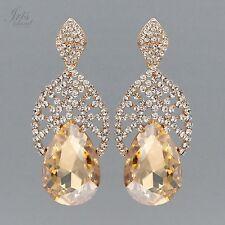 18K Gold Plated Topaz Crystal Rhinestone Wedding Drop Dangle Earrings 5839 Party