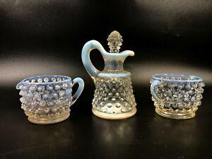 White Bumpy Glass Tea Set ~ Teacup Creamer Sugar Bowl