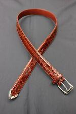 Mens De Vecchi Brown Genuine Alligator Dress Belt Cognac 30 - 32 Made in Italy