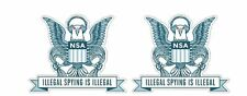 2x NSA Spying is illegal Retro Sticker Decal Army Navy Air Force
