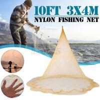 10x13Ft Fishing Gill Net Nylon Monofilament Mesh 3X4M Easy Hand Throw Cast US