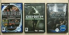 Lot de 3 jeux PC complets | Battlefield 1942, Call of Duty 4 et Medal of Honor.