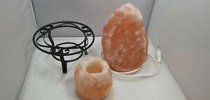 Salzkristall Stein Lampe + 1 Teelichthalter mit Metallfuß, mit LED Leuchtmittel