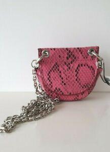 Zara Pink Snake Print Mini Crossbody Belt Bag or Purse NWT