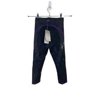 CW-X Women's 140806 Black Light Purple 3/4 Length Pro Tight Pants Size XS
