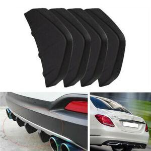 4x Black Car Universal Rear Lower Bumper Diffuser Fin Spoiler Lip Wing Splitter