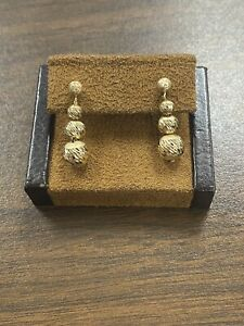 14KT Yellow Gold Unique Textured Etched Fun Dangle Ball Drop Earrings