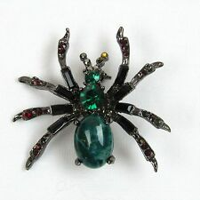 Vintage Spider Pin Red and Green Rhinestones Brooch Gunmetal 1.60 W 1.75 H