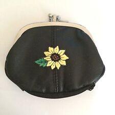 Sunflower Design Leather Change Purse Wallet Sun Flowers