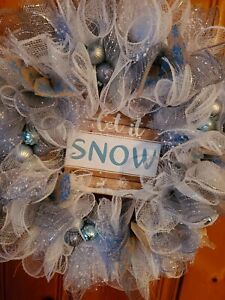 """Let It Snow"" Winter Christmas Wreath ~ Handmade ~ Blue Silver White"