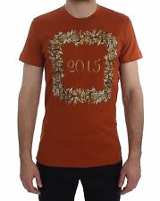 NUOVO DOLCE & Gabbana T-shirt collo tondo 2015 motivo stampa cotone arancio
