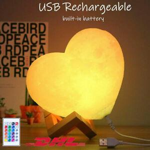 15cm Mondlampe Nachtlampe Herzförmige 16Farben mit Personalisierte Fernbedienung