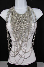 New Women NecklaceSilver Metal 25 Strands Beads Chains Long Fashion Jewelry
