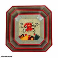 Vintage MCM Japanese Paper Mache Trays Lacquered Set Of 3 Origami Birds Square