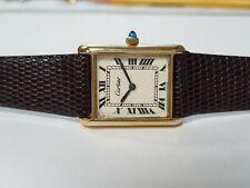 Ladies Cartier Tank Swiss 18k Electroplated Watch Circa 1970s