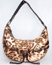 MICHAEL KORS Leopard Print Crescent Hobo Woven Strap Drawstring Accent