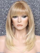 Human hair blend Full Wig Layered Straight bangs Heat OK Blonde Mix 27-613 PL