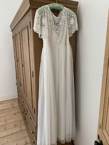 Floral Embellished Bridal Ivory Wedding Dress Size 12 - Monsoon